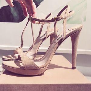 MIU MIU Blush Pink Nude Sandals Heels Shoes -NEW